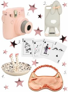 Girly Stocking Stuffers: 1. Fujifilm Instax Mini 8 Instant Camera // 2. Moschino Violetta Rabbit iPhone 5 Cover // 3. Lanvin Set of Two Packs of Illustrated Playing Cards // 4. Plum & Bow Lady Legs Ring Holder // 5. Charlotte Olympia Cat Sleeping Mask