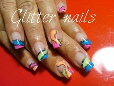 Uñas coloridas Glitter Nails, Beauty, Colorful Nails, Short Nails, Glittery Nails, Beauty Illustration