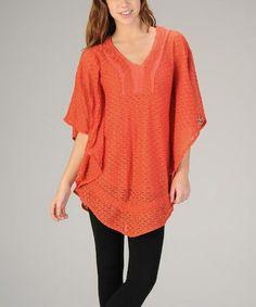 Look at this #zulilyfind! Orange Textured Cape Sleeve Tunic #zulilyfinds