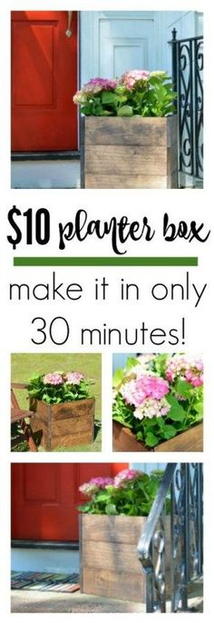 Make this DIY Wood Planter Box for only $10 and in only 30 minutes! Easiest project ever!