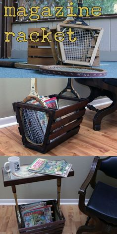 tennis rackets and an old crate re-purposed into a stylish magazine rack(et)