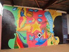 "The 1st COMPLETED ""Meaningful Mural Project"" in Cameroon, West Africa! Along with my students at ASOY we taught boys at the orphanage Foyer de l'Esperance the art of mural making. Inspired by The Mural Arts Program in Philly"