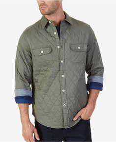 15bc299b3a824 Nautica Men s Quilted Twill Shirt Shirt Jacket