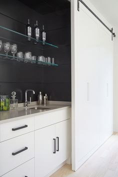 Wet Bar, Custom Cabinetry, Wine Refrigerator, Custom Bar Door