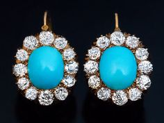 Antique Victorian Turquoise and Diamond Cluster Earrings circa 1890 The gold dangle earrings are centered with cabochon cut sky blue Persian turquoise surrounded by sparkling old mine cut diamonds. Jewelry Stores Near Me, Jewelry Shop, Fine Jewelry, Jewelry Design, Jewellery Box, Bridal Jewellery, Victorian Jewelry, Antique Jewelry, Vintage Jewelry