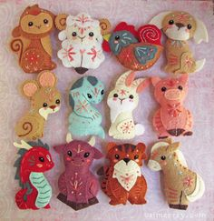 Miniature plush Chinese Zodiac animals are the perfect craft to celebrate Lunar New Year, or any time of year just for fun! Here is a pattern you can use to sew your very own.  This pattern will give you instructions and patterns to make the creatures pictured, Dragon, Horse, Ox, Tiger and orange. Each one is around 3 inches high. This is pattern SET #3, SETs #1 and #2 which complete the collection of all 12 animals (pictured in the last photo) are available here: https://www.etsy.c...
