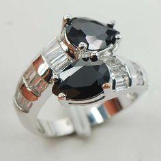 Eildan Sterling Silver Plated Rings Onyx