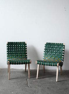 Coveting a Risom Chair rewrapped in green leather from Eric Trine Remodelista