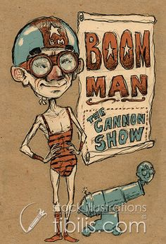 BOOM MAN (the cannon show). Royalty Free stock Illustration available at http://.tibilis.com/site/stock?q=retro