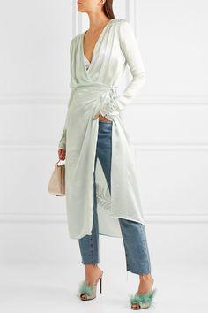 Attico | Gabriela embroidered silk-satin wrap dress | NET-A-PORTER.COM