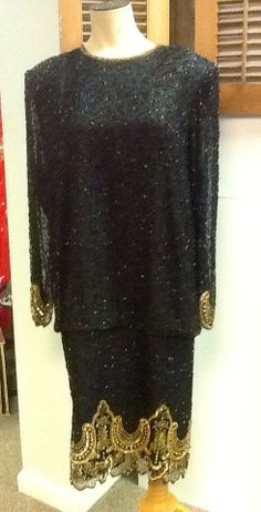 Vintage Brilliante Black Dress with Black and Gold by RESTYLE576, $80.00