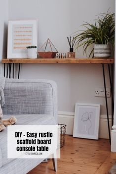 DIY - Easy rustic scaffold board console table or a bench - DIY Projects & Tutorials - Home Decor Items, Cheap Home Decor, Diy Home Decor, Coastal Decor, Diy Bank, Rustic Console Tables, Scaffold Boards, House Front Design, Table And Chairs