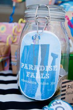 Paradise Falls chocolate coin jar
