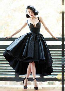 Vintage Satin Sweetheart Neckline Ball Gown Hi-Lo Cocktail Dresses