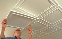 Embossed polystryrene foam ceiling tiles are easy to install while adding interest and elegance to a room. Embossed polystryrene foam ceiling tiles are easy to install while adding interest and elegance to a room. Basement Remodeling, Basement Ideas, Kitchen Remodeling, Basement Makeover, Basement Flooring, Remodeling Ideas, Ceiling Design, Home Renovation, Home Projects