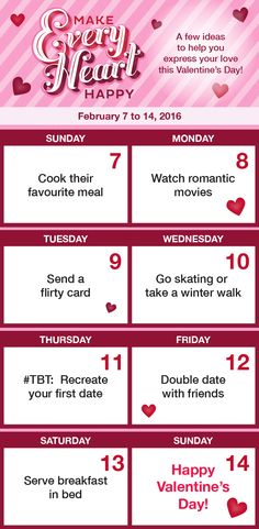 Need some inspiration for your #ValentinesDay? Check out this Calendar with 7 tips to help you express your love!