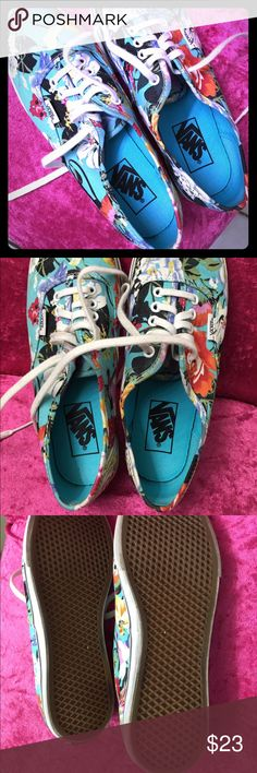 Vans Women's Authentic Lo Pro Floral Lightly used condition no holes or stains very cute design they need a new home , check the pictures and let me know if you have questions, smoke and pet free. Vans Shoes Sneakers
