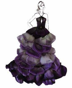 Dress Sketches, Fashion Sketches, Fashion Illustrations, Flower Fashion, Fashion Art, Fashion Design, Dress Illustration, Unique Drawings, Fairy Dress