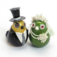 Love Birds Wedding Cake Topper Yellow Mustard and Lemon Green B00012 | sweetiecaketopper - Dolls & Miniatures on ArtFire