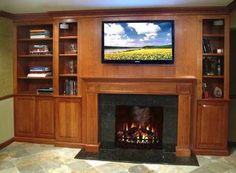 Fireplace Mantels Cabinet Decoration with LCD TV and Bookcase ...