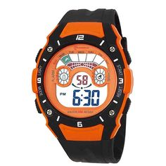 Digital Backlight Sport Kids Watch for Boys Stopwatch. Suitable age: more than 10 years old. Alarm, chronograph function. Watch band length: 9.65 inches. Durable material, perfect design, Japanese quartz movement. Second, minute, hour, date, day, month display, backlight, water resistant.