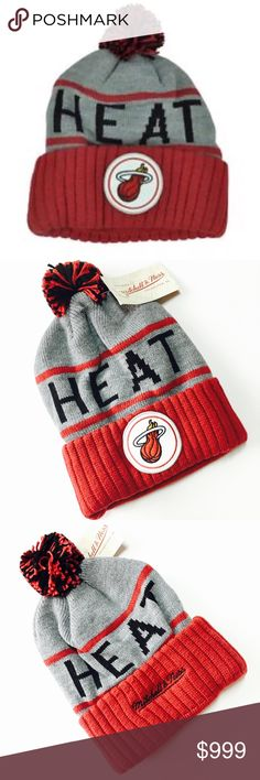 New~ Miami Heat NBA Pom Beanie Mitchell & Ness Mitchell & Ness NBA Miami Heat Pom Beanie Hat Cap  Condition: New with tags Size: One size fits most Product Detail: Unstructured relaxed fit Stretch fit  Woven graphics Hand wash, dry flat 100% acylic Soft woven acrylic construction Team colors NBA Accessories Hats
