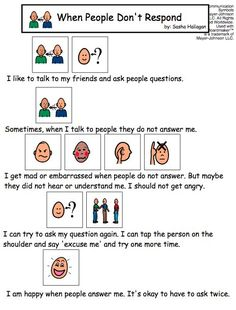 """""""When People Don't Respond"""" Visual Social Story"""