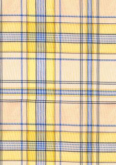 America's leading purveyor of decorative fabrics, wallcoverings, trimmings, accessories and furnishings. Plaid Fabric, Yellow Fabric, Blue And Yellow Living Room, Fabric Decor, Color, Home, Room Ideas, Fabrics, Design