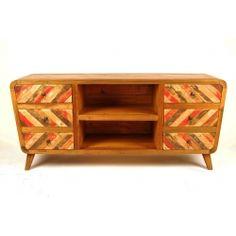 komoda z Indonezji, wykonana z drewna tekowego, recyklingowanego ze starych łodzi