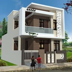 Proposed elevation by design ahead architects modern reinforced concrete Architect Design House, House Roof Design, 2 Storey House Design, House Outside Design, Village House Design, Bungalow House Design, Small House Design, Modern Exterior House Designs, Modern Architecture House