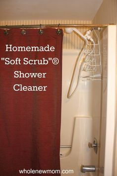 Homemade Shower Cleaner-3/4 cup baking soda (slightly heaped) 1/4 cup castile soap (I use Dr. Bronner's) 1 Tablespoon water (please use filtered water.  See Is Your Water Safe?) A few drops of essential oil --the acid and base in the vinegar and the castille soap react, causing the castille soap to unsaponify, which basically means that the soap is broken down to its original oils.