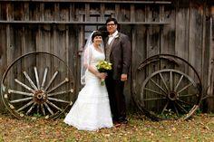 vintage wedding, barn wedding, midway village, wagon wheels