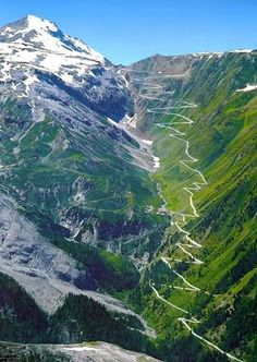 The Stelvio Pass with its sixty hairpin turns in the Swiss Alps - Yikes! I think I'd be nervous going through here. Beautiful though.