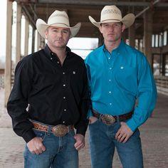 Men s Cinch Black Pinpoint Oxford Buttondown Shirt Black Cowboy Hat 47e237709090