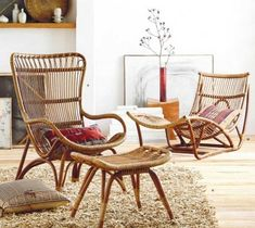 Inspired by European designs, our curvaceous Lar's chair, ottoman and chaise are made from durable bent rattan, to last for many years to come. Unlike bamboo, rattan is solid and durable yet ve Rattan Furniture, Vintage Furniture, Living Room Furniture, Home Furniture, Furniture Design, Outdoor Furniture, Furniture Ideas, Rattan Chairs, Industrial Furniture
