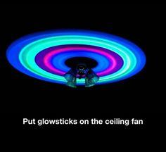 Glow sticks on the ceiling fan