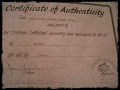 Certificate of Authenticity for the 1900's Costume Diamond Brooch used in the movie Titanic.