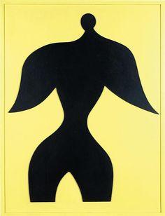 Hans ARP (1886 - 1966) Homme oiseau, 1956 Huile et collage de bois