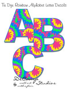 Rainbow Tie Dye Alphabet letters wall art decals for teen girls hippie room, baby nursery, or childrens bedroom decor. Personalize a NAME or create your favorite SAYING #decampstudios