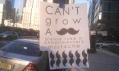 tear off tag sign | Please Take a Complimentary Mustache Tear Off Posters