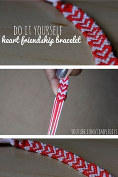 #DIY -- Learn how to make a friendship bracelet with a heart pattern! Pin now, watch later. Super simple!