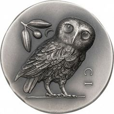 Greek Goddess Of Wisdom, Coin Icon, Owl Who, Greek Soldier, Commemorative Coins, Cook Islands, Silver Coins, Two By Two, Antiques