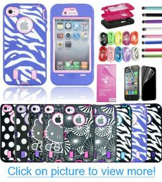Epic Gadget(TM) 3-Piece Hybrid High Impact Case Silicone for iPhone 4 4S + 1 Front and Back Screen Protector + 1 Stylus Pen and 1 USB Cable US Seller (Pink Zebra Hybrid Case)