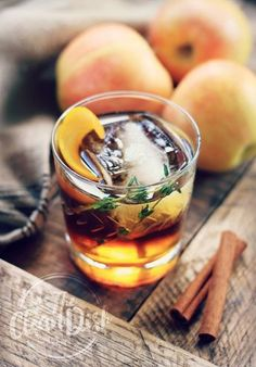 """""""Aberdeen Apple Crush"""" A Fall Inspired Cider, Bourbon and Thyme Cocktail- YUM! Cider Cocktails, Fall Cocktails, Cocktail Drinks, Cocktail Recipes, Apple Cocktails, Drink Recipes, Bourbon Drinks, Bourbon Whiskey, Cocktail Glass"""