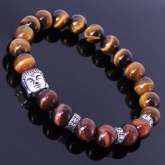 Red & Brown Tiger Eye Healing Gemstone Bracelet with S925 Sterling Silver Gautama Buddha Bead & Buddhism Spacers - Handmade by Gem & Silver BR166