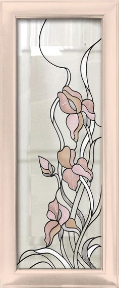 """Витраж """"Ирисы"""": Stained Glass Door, Stained Glass Flowers, Stained Glass Designs, Stained Glass Panels, Stained Glass Projects, Stained Glass Patterns, Leaded Glass, Mosaic Glass, Stencil"""