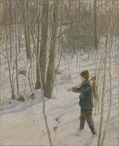 """The Rabbit Hunter,"" Julian Alden Weir, 1897, oil on canvas mounted on panel, 22 x 18"", Addison Gallery of American Art."