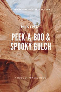A budget travel blog. Hiking Peek A Boo and Spooky slots in Escalante Utah Hiking In Utah, Utah Camping, Utah Hikes, Escalante Utah, Kanab Utah, Arizona Road Trip, Arizona Travel, Slot Canyon, Bryce Canyon