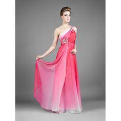 Φόρεμα μακρύ με έναν ώμο ντεγκραντέ, κεντημένο