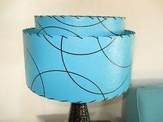 Mid-Century-Vintage-Style-2-Tier-Fiberglass-Lamp-Shade-Modern-Atomic-Turquoise